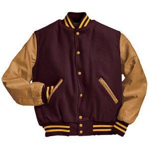 men's varsity jacket in maroon and gold