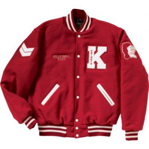 women's varsity jacket in white and red