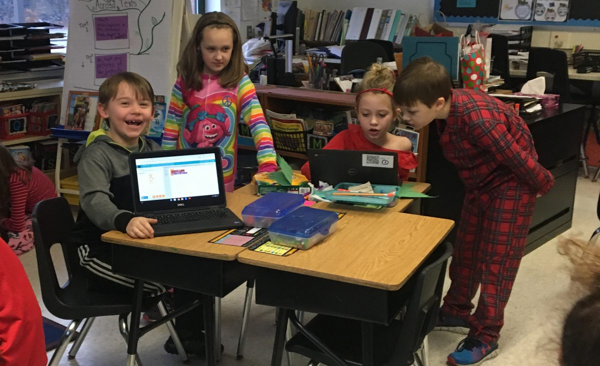 Students teach each other to code