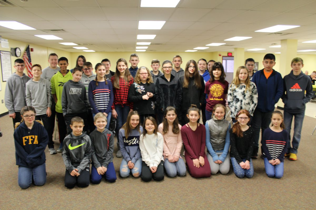 Middle school 2nd quarter character award winners