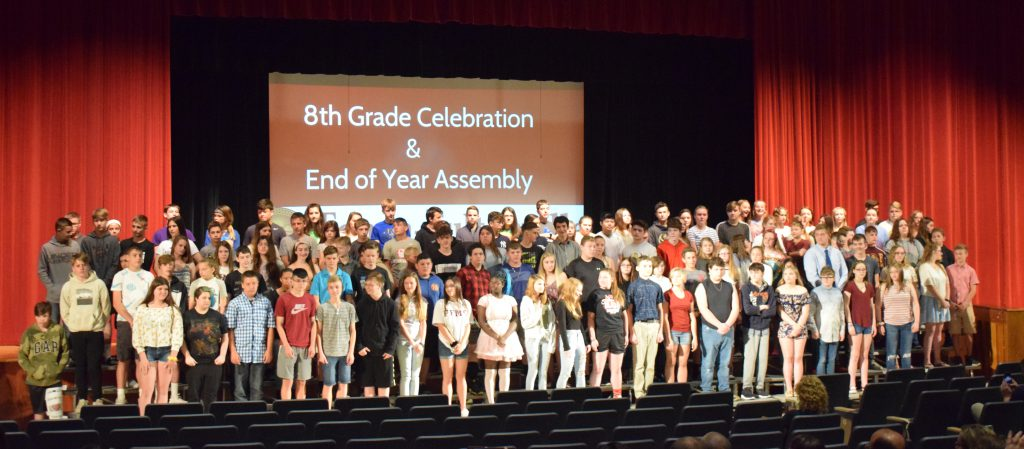 The 8th grade class is seen