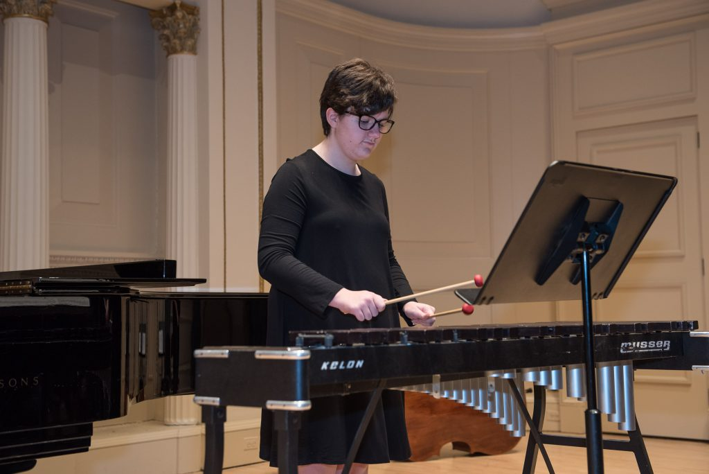 Student plays xylophone on stage at Carnegie Hall