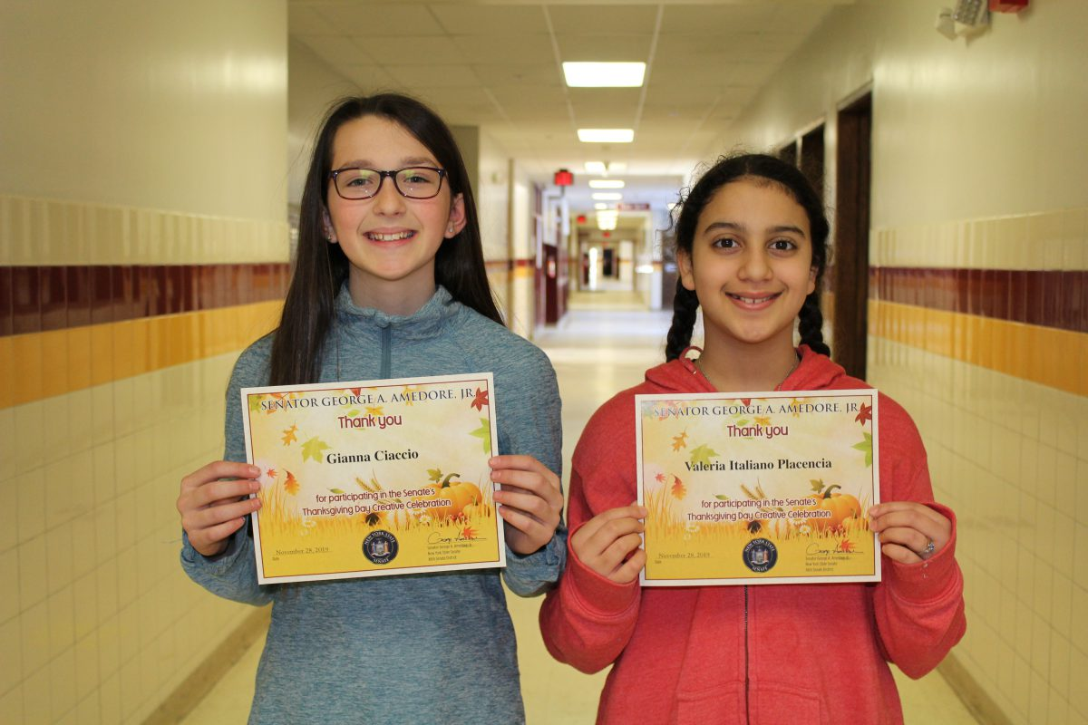 Middle schoolers honored by Senator Amedore for writing projects