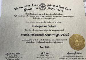 certificate designating fonda-fultonville high school as a nys recognition school