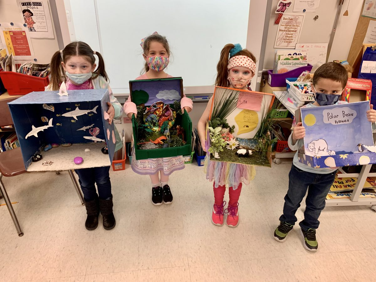 First graders create mini museum exhibits and posters