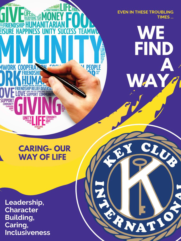 Key Club poster highlighting leadership, character building, caring and inclusiveness